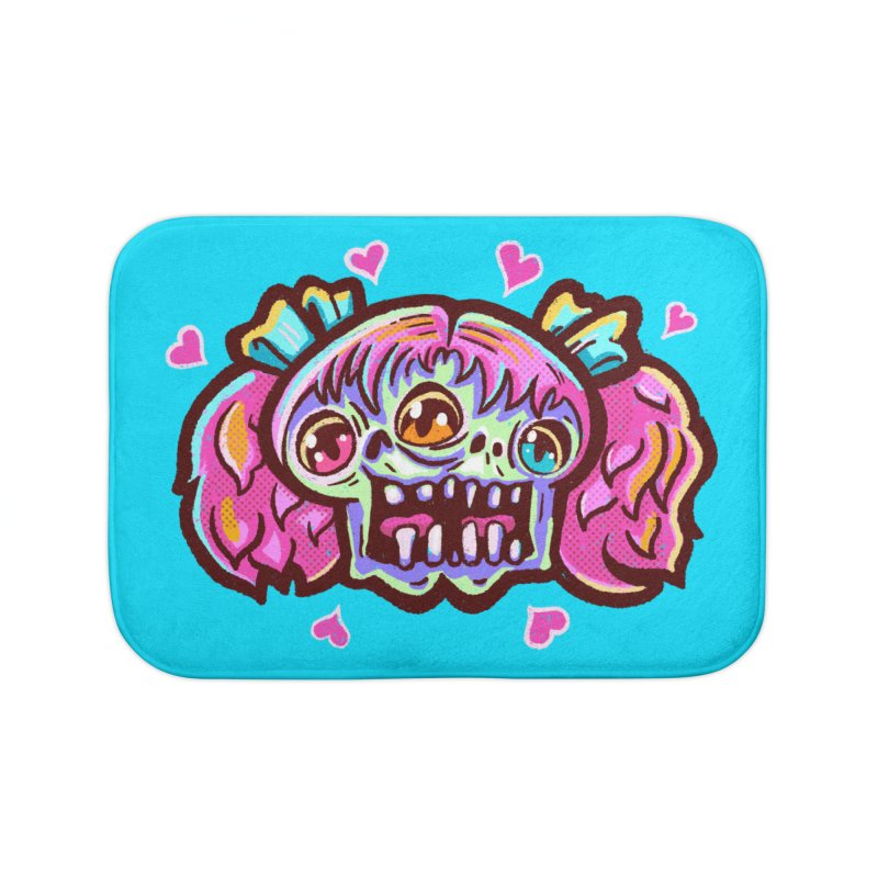 Conjoined Skull with Pink Hair and Bows Home Bath Mat by Illustrator and Designer Alan Defibaugh