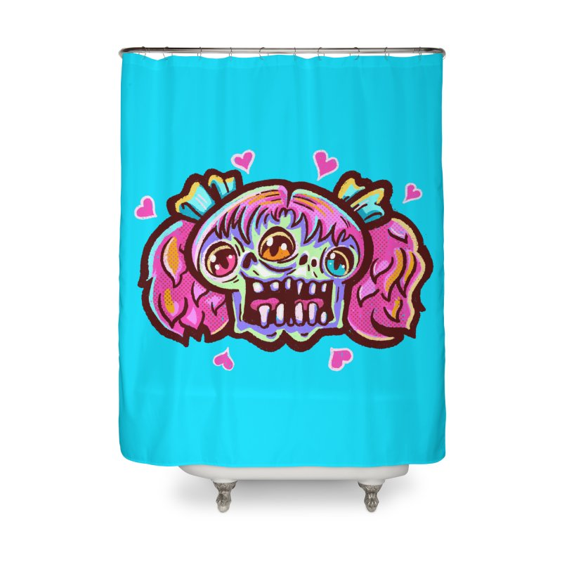 Conjoined Skull with Pink Hair and Bows Home Shower Curtain by Illustrator and Designer Alan Defibaugh