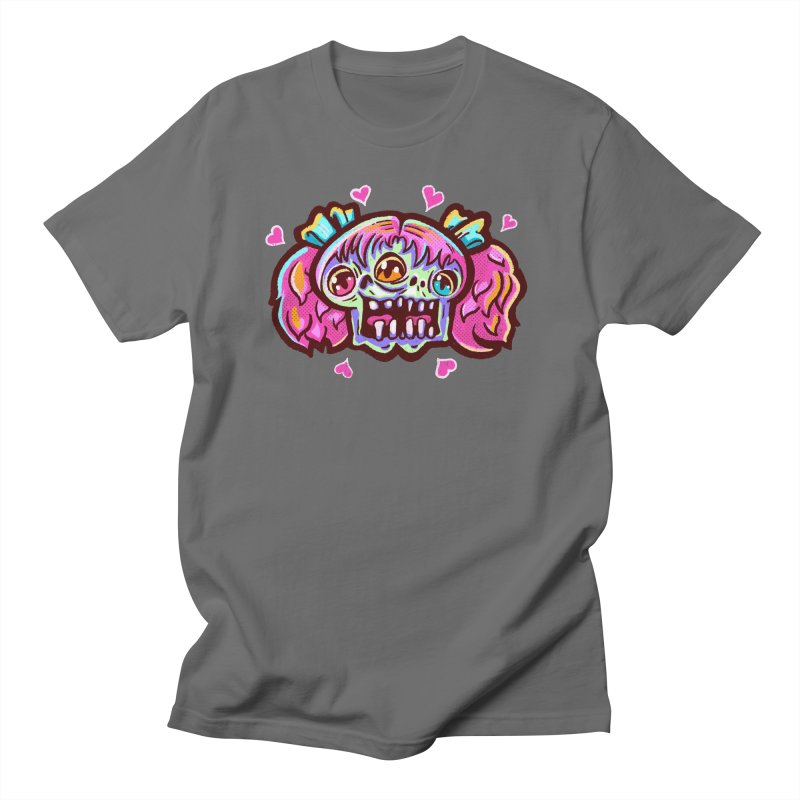 Conjoined Skull with Pink Hair and Bows Men's T-Shirt by Illustrator and Designer Alan Defibaugh