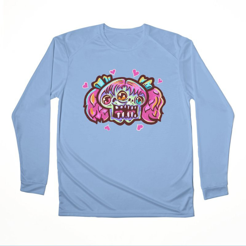 Conjoined Skull with Pink Hair and Bows Women's Longsleeve T-Shirt by Illustrator and Designer Alan Defibaugh