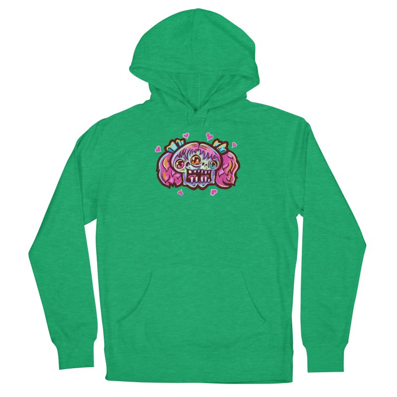 Conjoined Skull with Pink Hair and Bows Women's Pullover Hoody by Illustrator and Designer Alan Defibaugh
