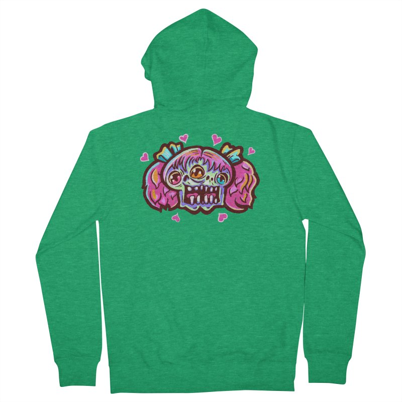 Conjoined Skull with Pink Hair and Bows Women's Zip-Up Hoody by Illustrator and Designer Alan Defibaugh