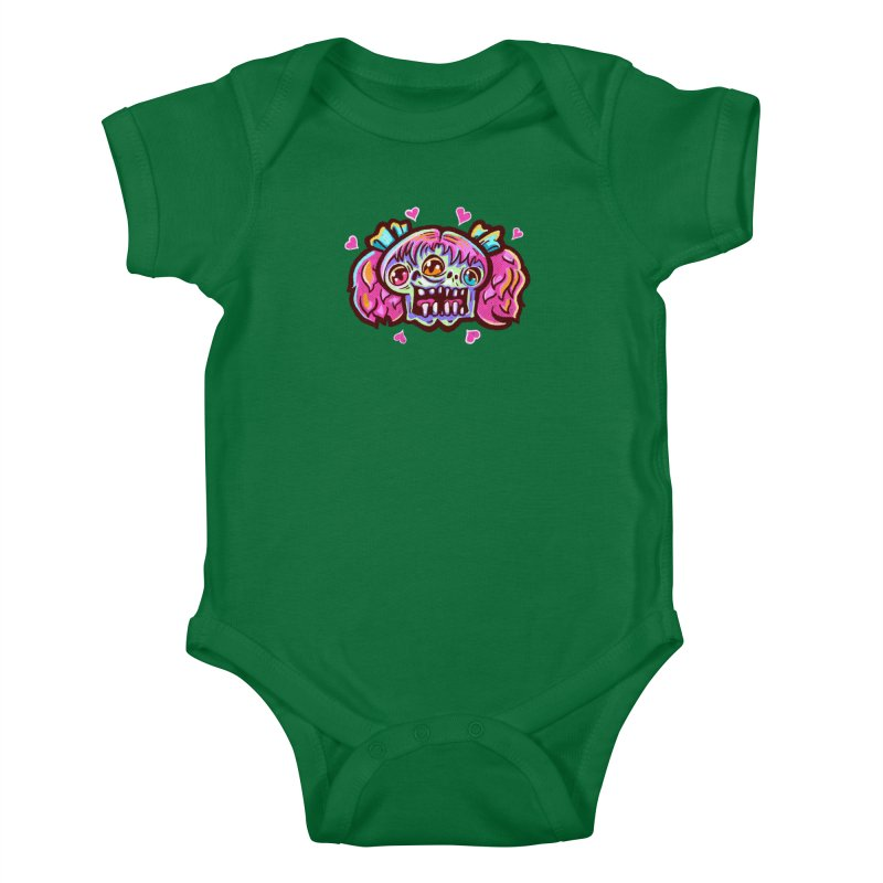 Conjoined Skull with Pink Hair and Bows Kids Baby Bodysuit by Illustrator and Designer Alan Defibaugh