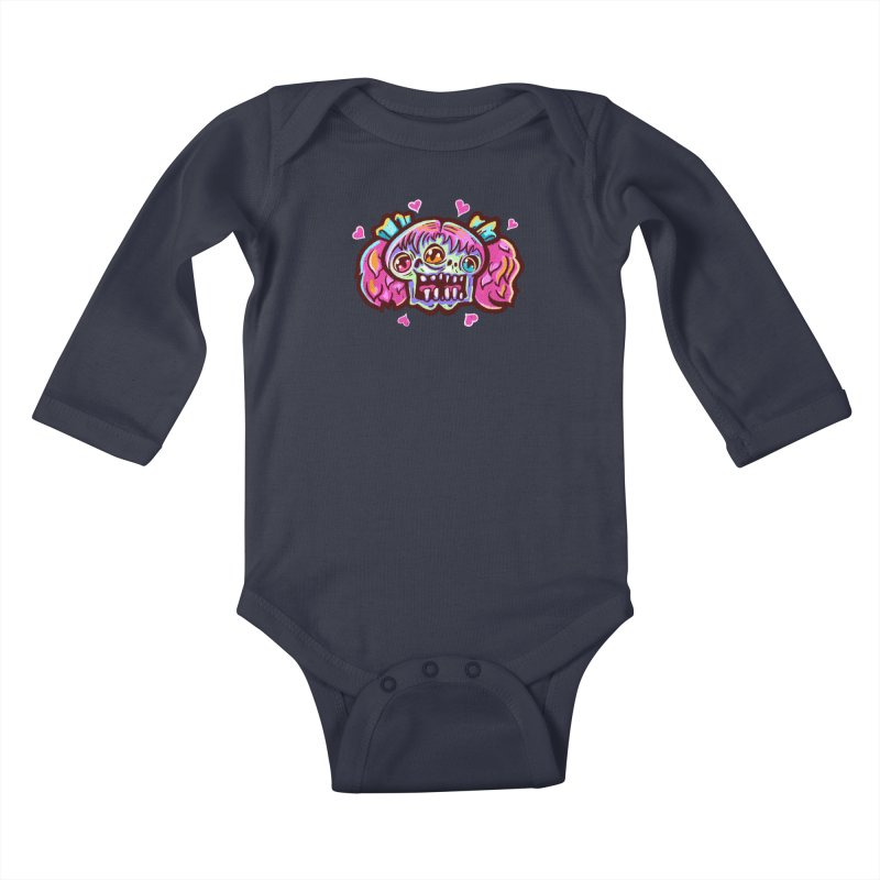 Conjoined Skull with Pink Hair and Bows Kids Baby Longsleeve Bodysuit by Illustrator and Designer Alan Defibaugh