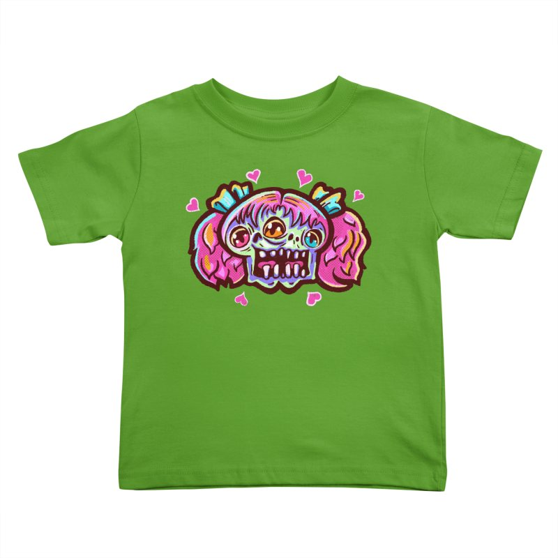 Conjoined Skull with Pink Hair and Bows Kids Toddler T-Shirt by Illustrator and Designer Alan Defibaugh