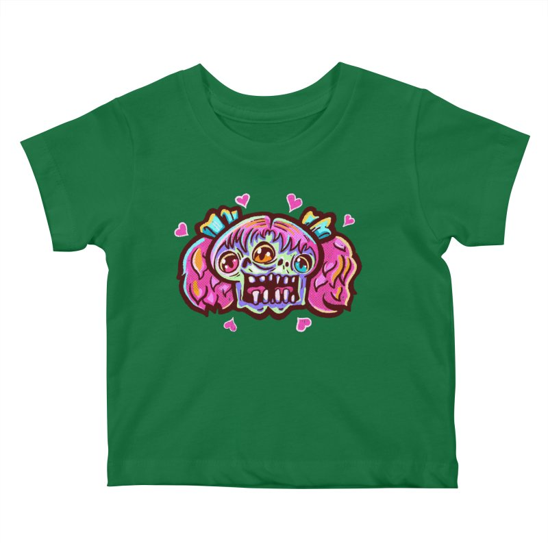 Conjoined Skull with Pink Hair and Bows Kids Baby T-Shirt by Illustrator and Designer Alan Defibaugh
