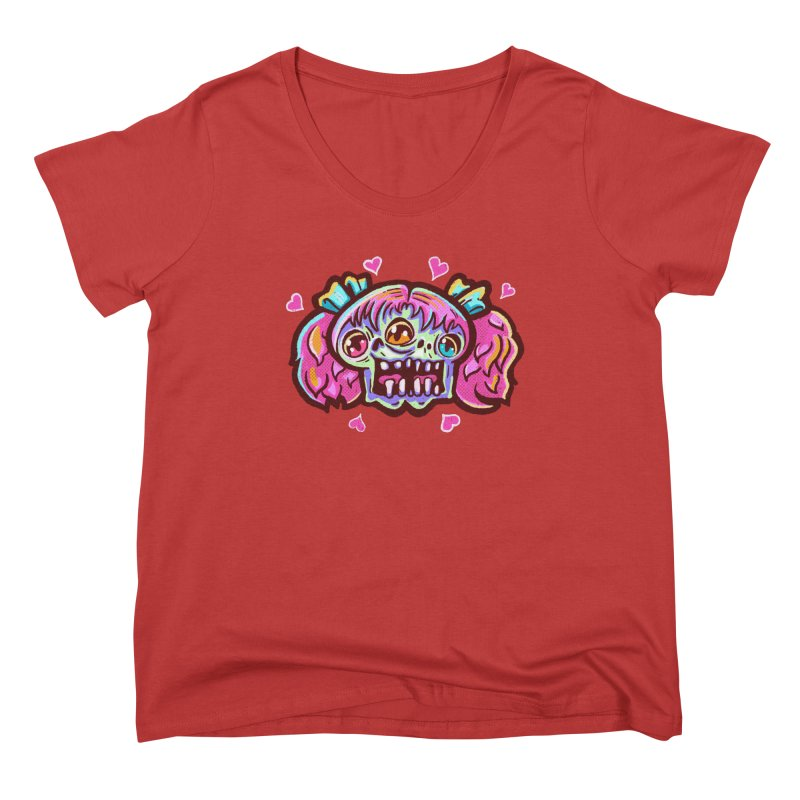 Conjoined Skull with Pink Hair and Bows Women's Scoop Neck by Illustrator and Designer Alan Defibaugh