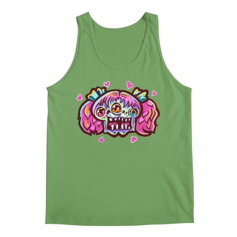 Conjoined Skull with Pink Hair and Bows Men's Tank by Illustrator and Designer Alan Defibaugh