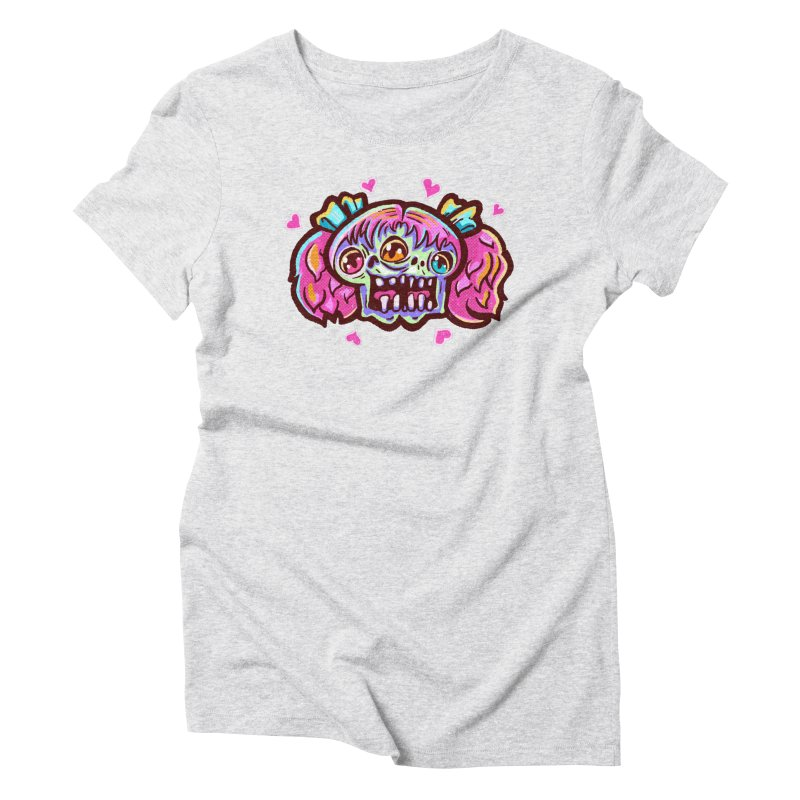 Conjoined Skull with Pink Hair and Bows Women's T-Shirt by Illustrator and Designer Alan Defibaugh