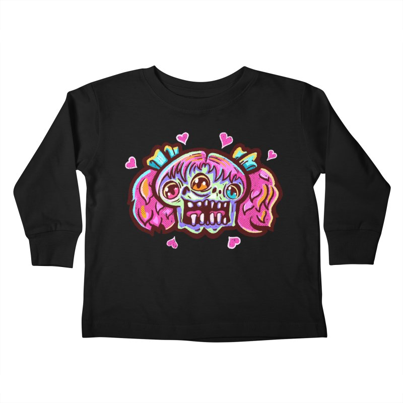 Conjoined Skull with Pink Hair and Bows Kids Toddler Longsleeve T-Shirt by Illustrator and Designer Alan Defibaugh