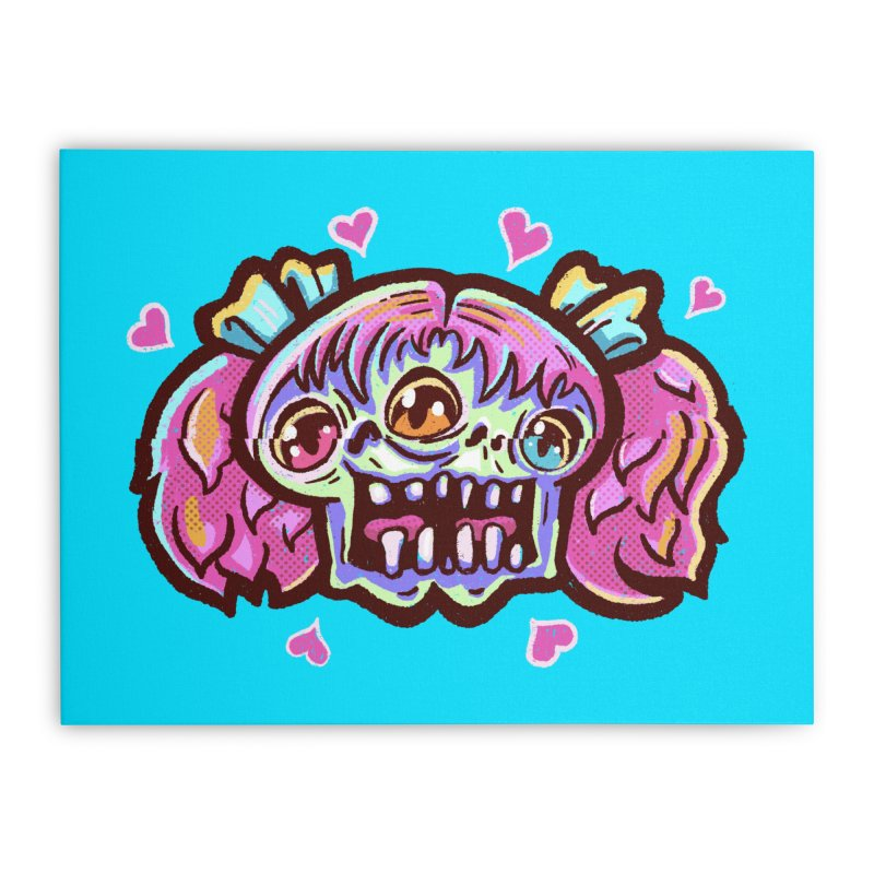 Conjoined Skull with Pink Hair and Bows Home Stretched Canvas by Illustrator and Designer Alan Defibaugh