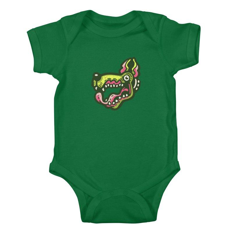 Green Great Dane Kids Baby Bodysuit by Illustrator and Designer Alan Defibaugh