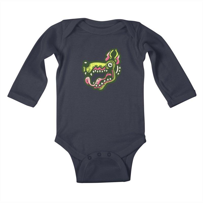 Green Great Dane Kids Baby Longsleeve Bodysuit by Illustrator and Designer Alan Defibaugh