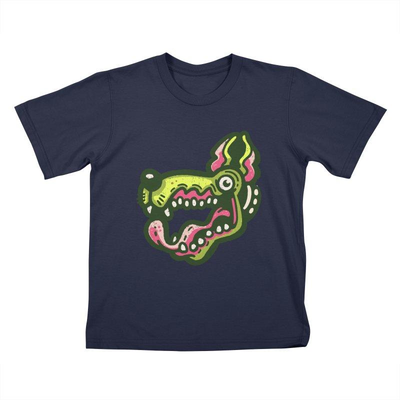Green Great Dane Kids T-Shirt by Illustrator and Designer Alan Defibaugh