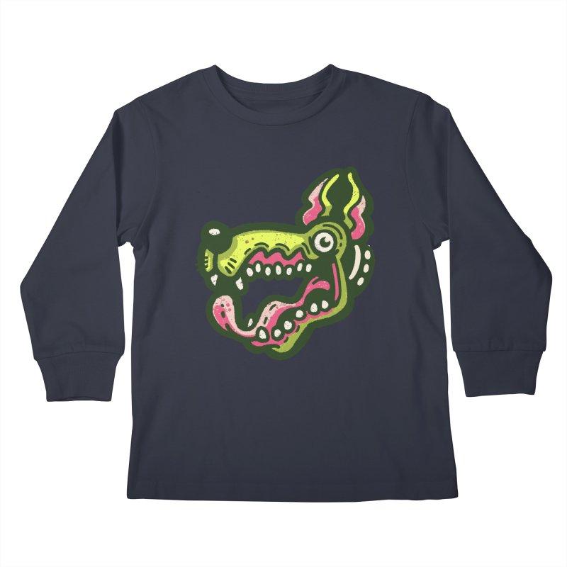 Green Great Dane Kids Longsleeve T-Shirt by Illustrator and Designer Alan Defibaugh
