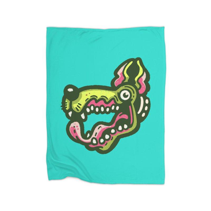 Green Great Dane Home Blanket by Illustrator and Designer Alan Defibaugh