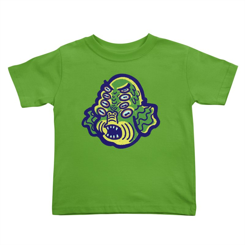 8-eyed Sea Monster Kids Toddler T-Shirt by Illustrator and Designer Alan Defibaugh