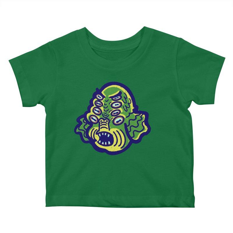 8-eyed Sea Monster Kids Baby T-Shirt by Illustrator and Designer Alan Defibaugh