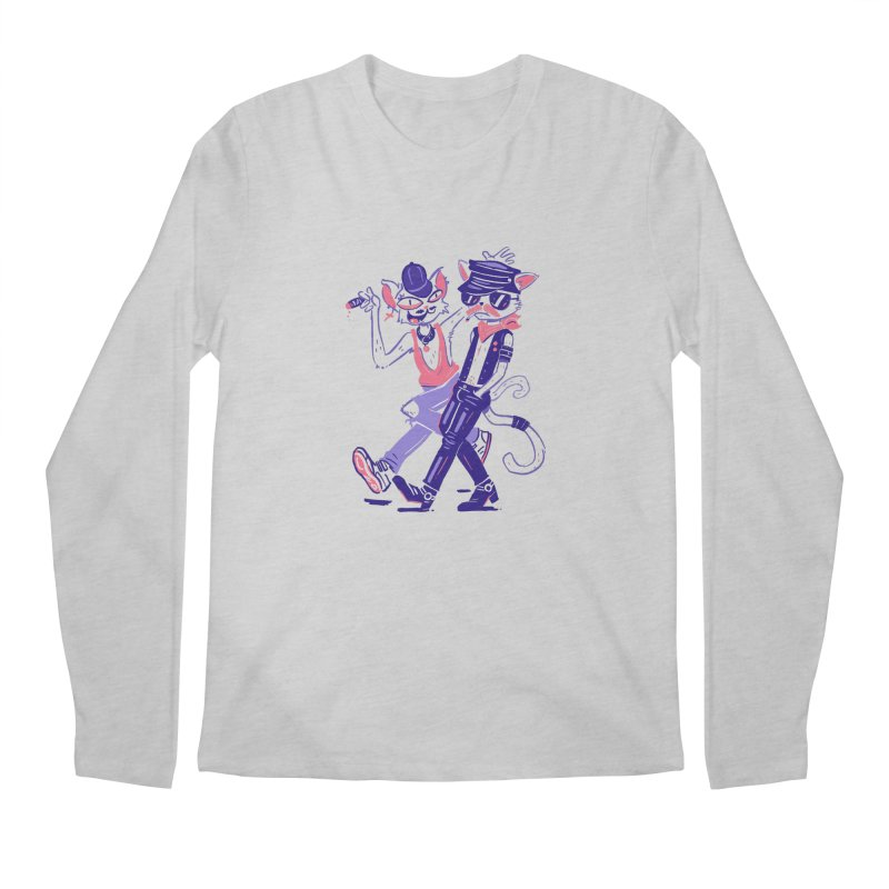 Sleazy Cats Men's Regular Longsleeve T-Shirt by Illustrator and Designer Alan Defibaugh's Shop