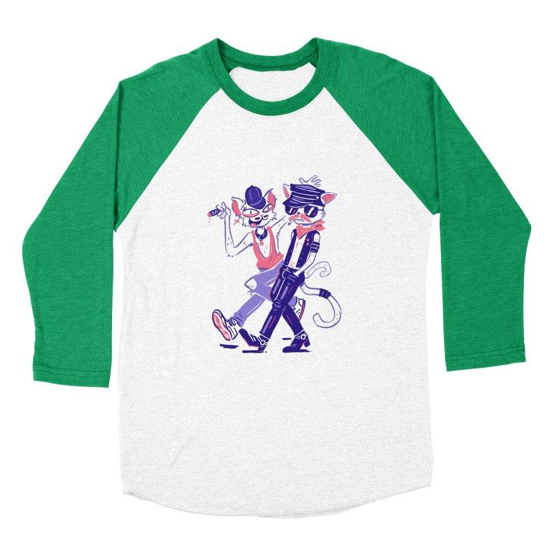 Sleazy Cats Men's Baseball Triblend Longsleeve T-Shirt by Illustrator and Designer Alan Defibaugh's Shop