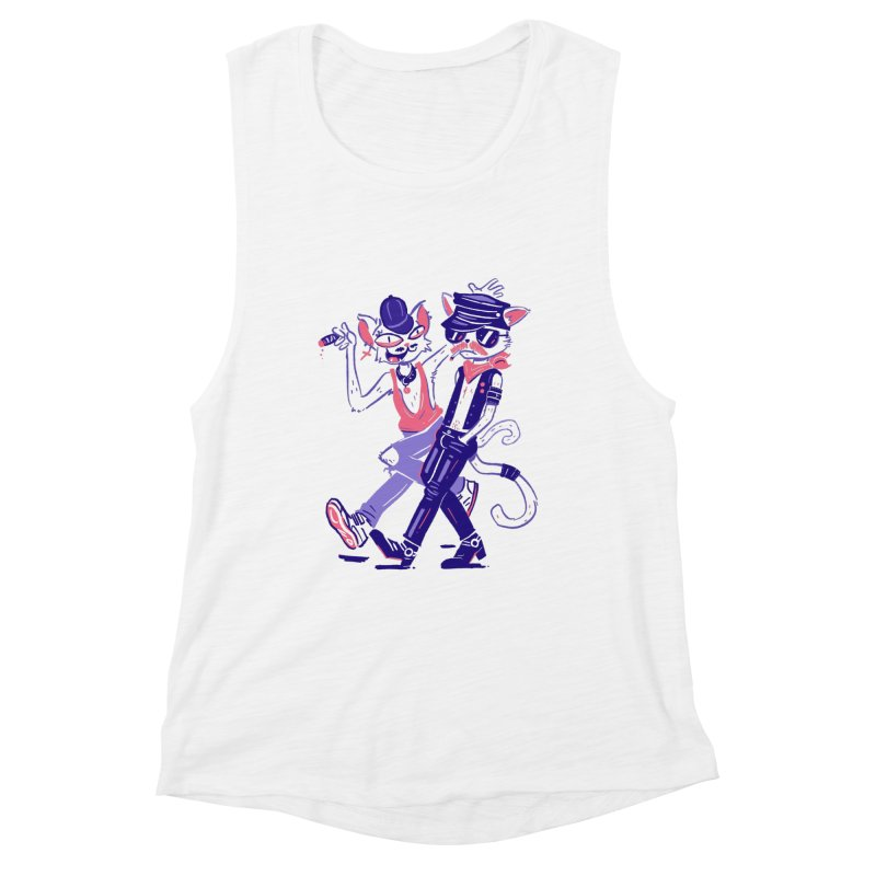Sleazy Cats Women's Muscle Tank by Illustrator and Designer Alan Defibaugh's Shop