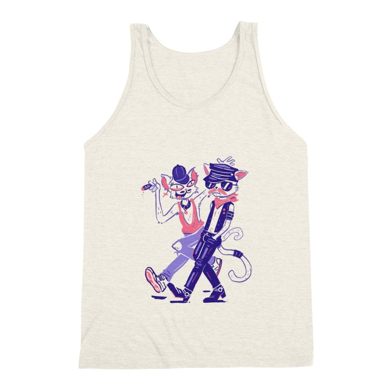 Sleazy Cats in Men's Triblend Tank Heather Oatmeal by Illustrator and Designer Alan Defibaugh's Shop