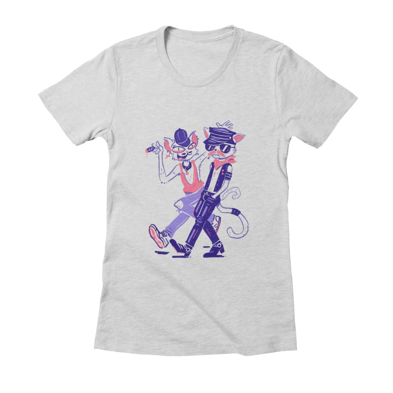 Sleazy Cats Women's Fitted T-Shirt by Illustrator and Designer Alan Defibaugh's Shop