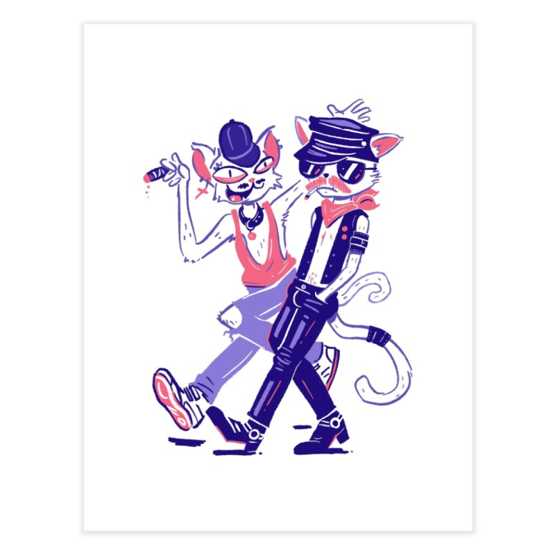 Sleazy Cats Home Fine Art Print by Illustrator and Designer Alan Defibaugh's Shop