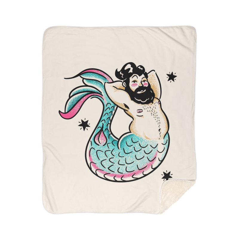Swimmin' with the Big Boys Home Sherpa Blanket Blanket by Illustrator and Designer Alan Defibaugh's Shop
