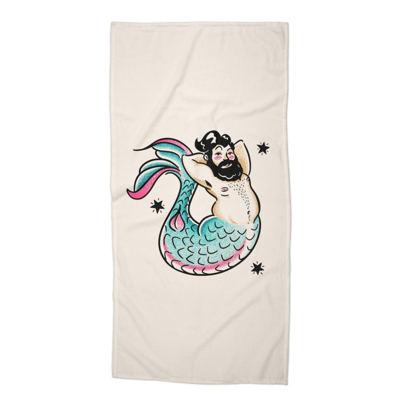 Swimmin' with the Big Boys Accessories Beach Towel by Illustrator and Designer Alan Defibaugh's Shop