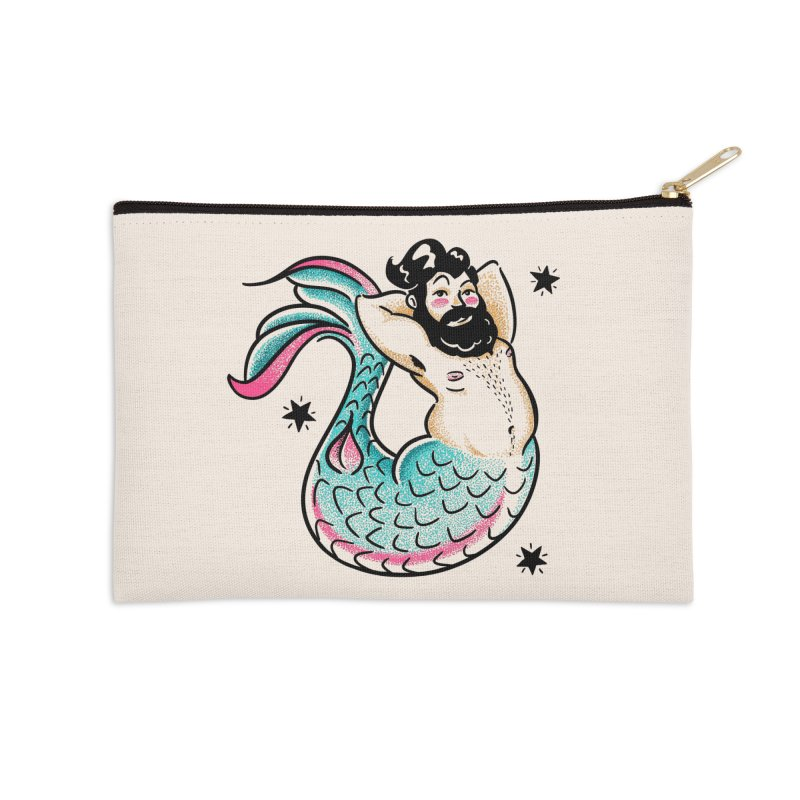 Swimmin' with the Big Boys Accessories Zip Pouch by Illustrator and Designer Alan Defibaugh's Shop