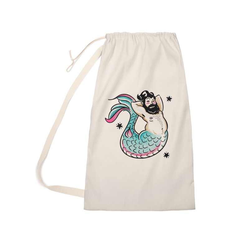 Swimmin' with the Big Boys Accessories Laundry Bag Bag by Illustrator and Designer Alan Defibaugh's Shop