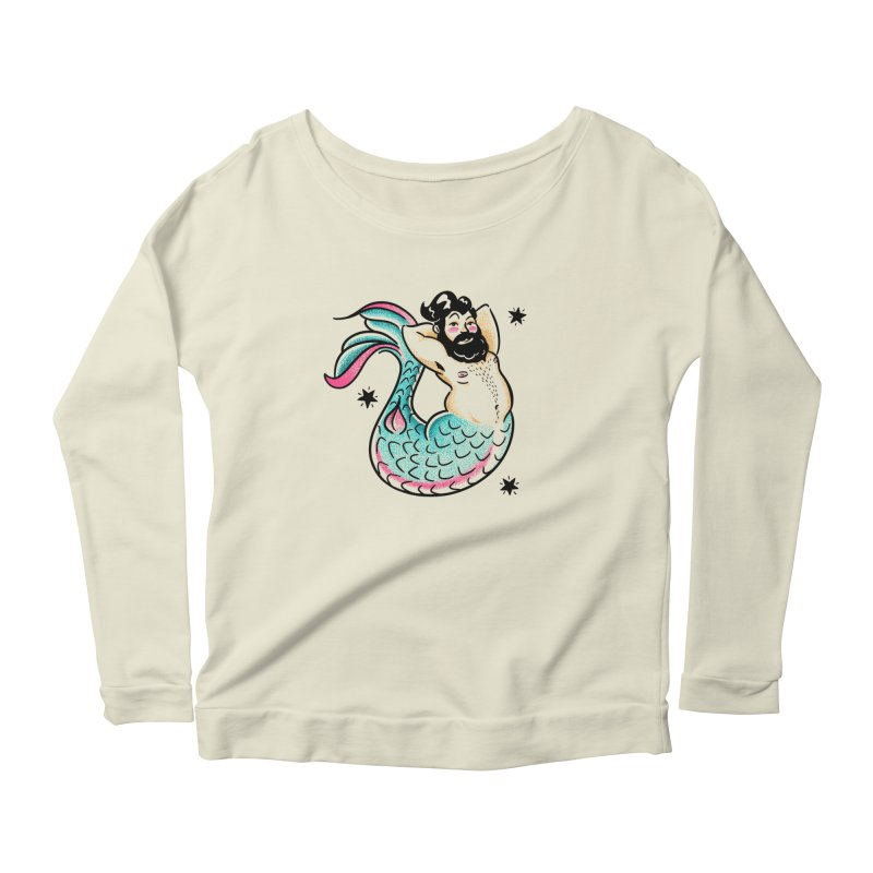 Swimmin' with the Big Boys Women's Scoop Neck Longsleeve T-Shirt by Illustrator and Designer Alan Defibaugh's Shop