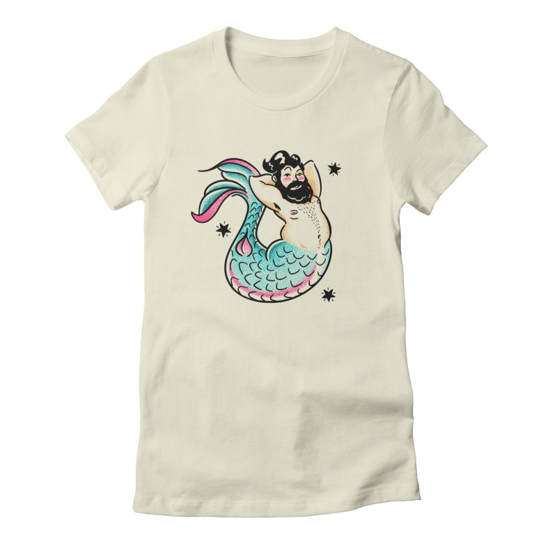 Swimmin' with the Big Boys Women's Fitted T-Shirt by Illustrator and Designer Alan Defibaugh's Shop