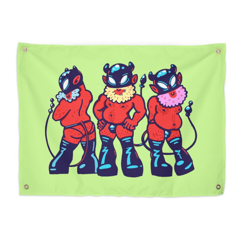 Three Bearded Devils Home Tapestry by Illustrator and Designer Alan Defibaugh