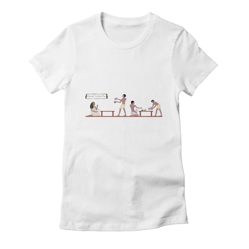 Ancient Coffee Bar Women's Fitted T-Shirt by AlessMila's Artist Shop