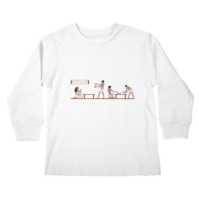 Ancient Coffee Bar Kids Longsleeve T-Shirt by AlessMila's Artist Shop