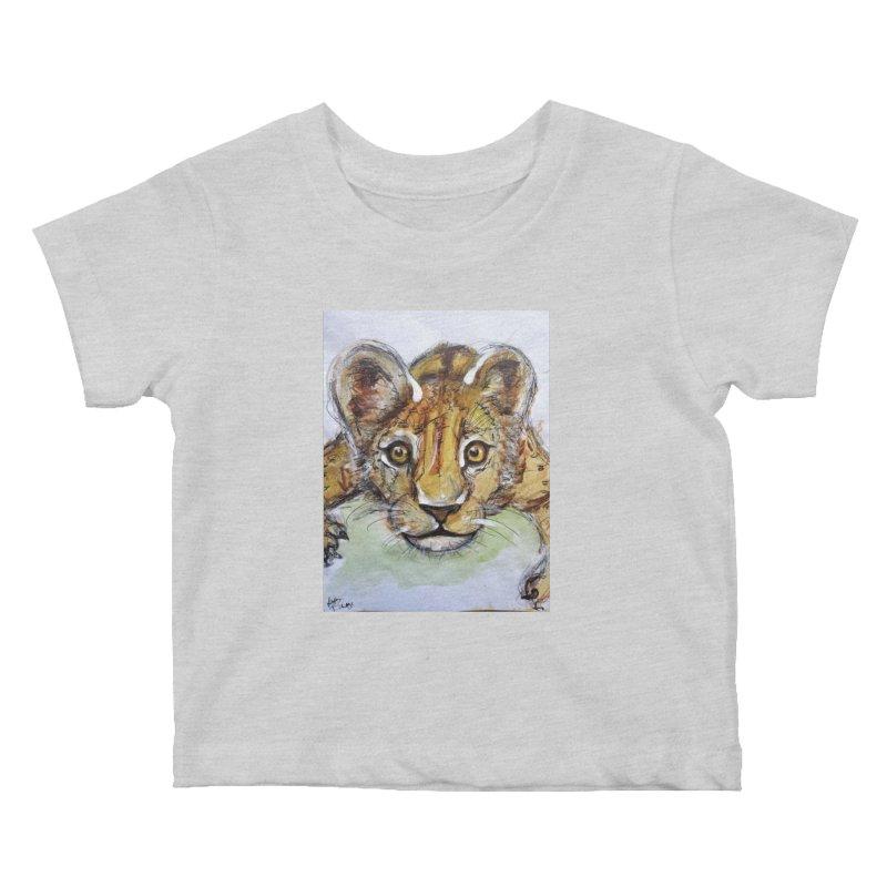 Lion Cub Kids Baby T-Shirt by AlmaT's Artist Shop