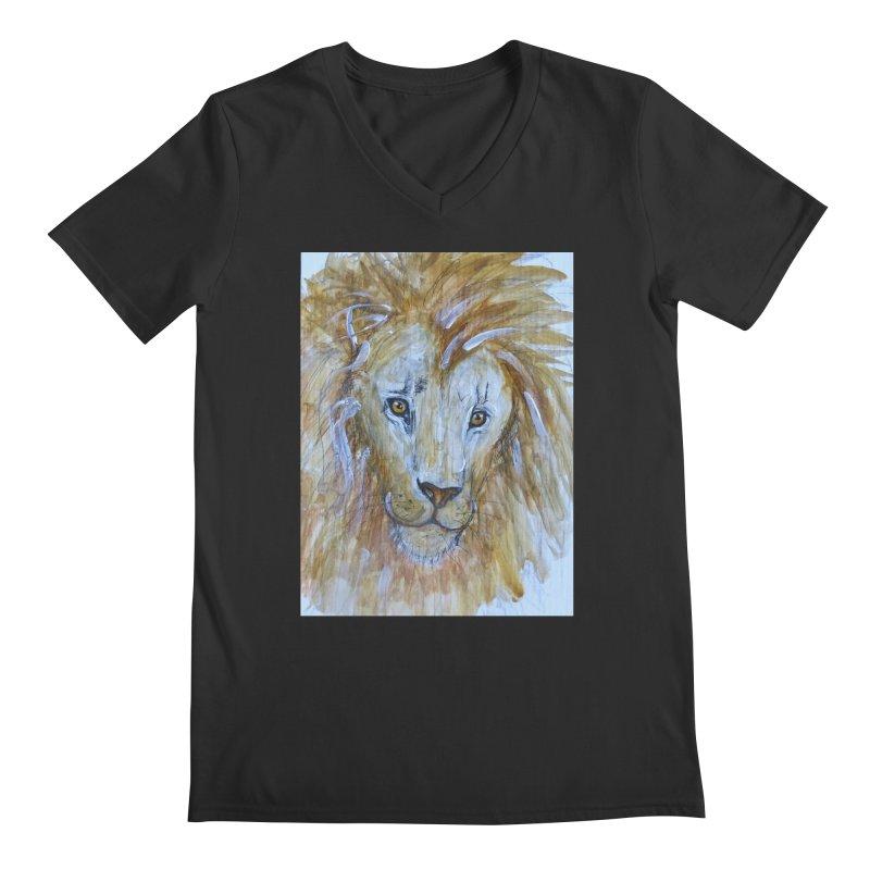 Lion Men's Regular V-Neck by AlmaT's Artist Shop