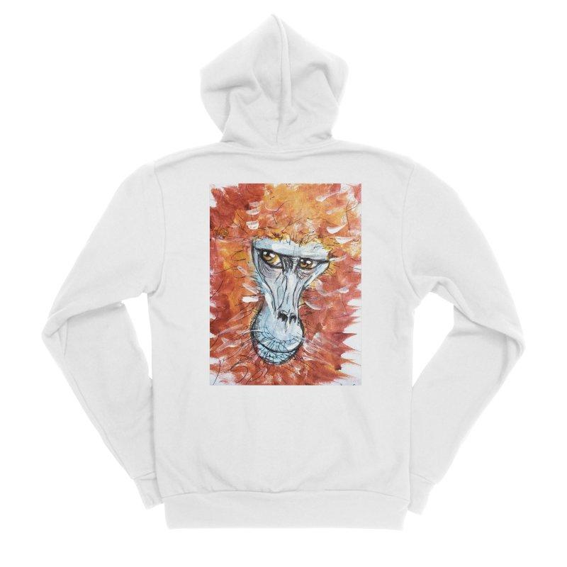 Gelada Monkey Men's Sponge Fleece Zip-Up Hoody by AlmaT's Artist Shop