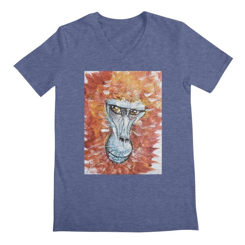 Gelada Monkey Men's Regular V-Neck by AlmaT's Artist Shop