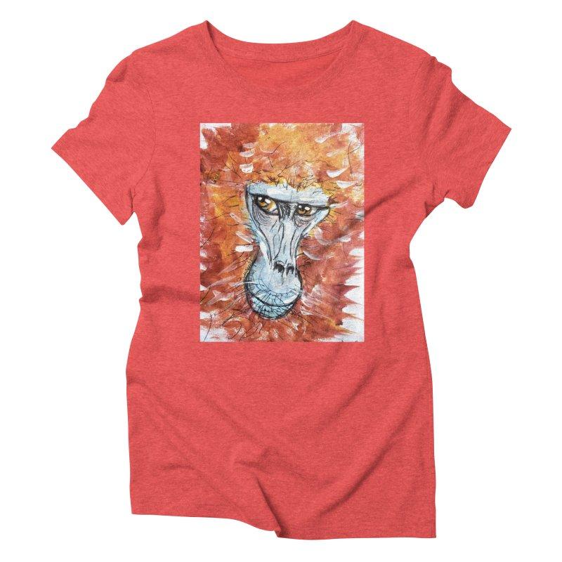 Gelada Monkey Women's Triblend T-Shirt by AlmaT's Artist Shop