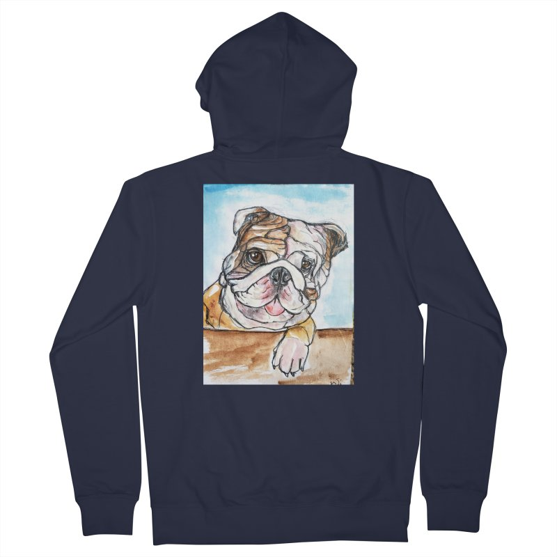 Bulldog Women's French Terry Zip-Up Hoody by AlmaT's Artist Shop