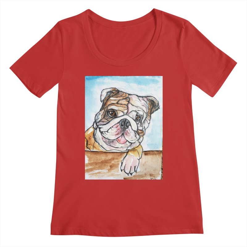 Bulldog Women's Regular Scoop Neck by AlmaT's Artist Shop