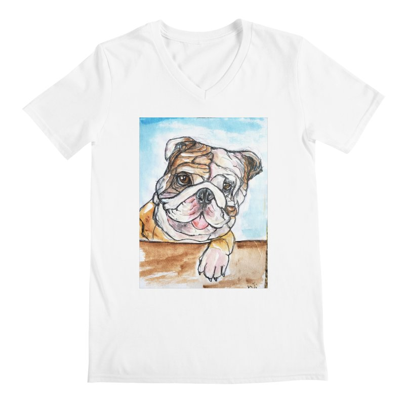 Bulldog Men's Regular V-Neck by AlmaT's Artist Shop