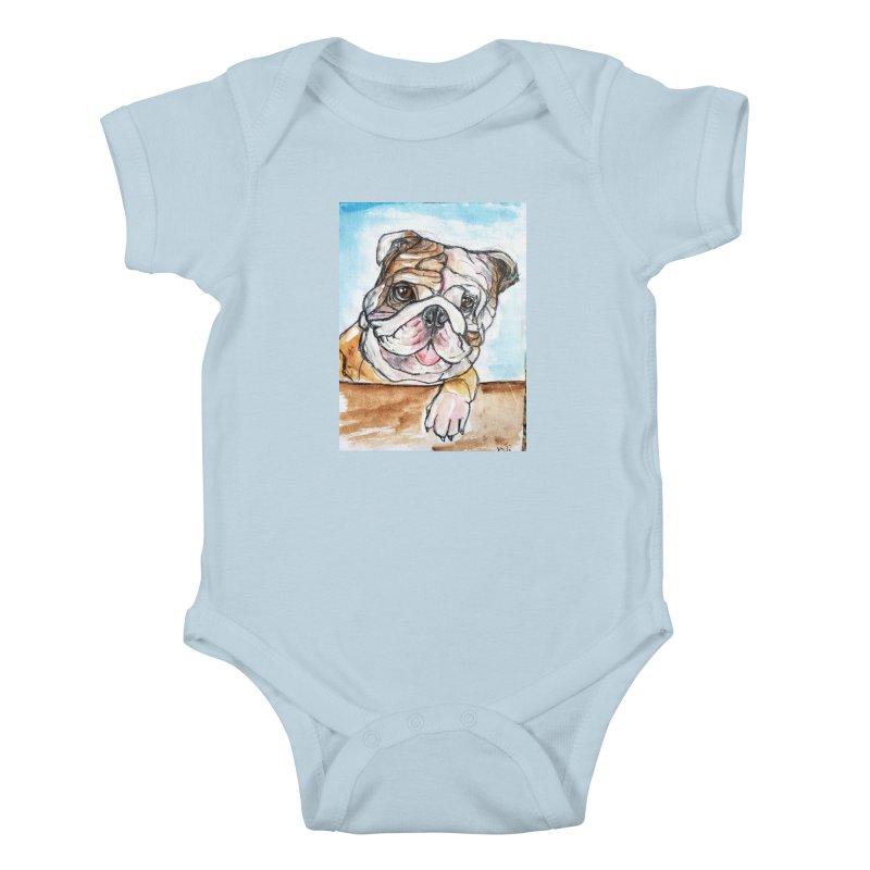 Bulldog Kids Baby Bodysuit by AlmaT's Artist Shop