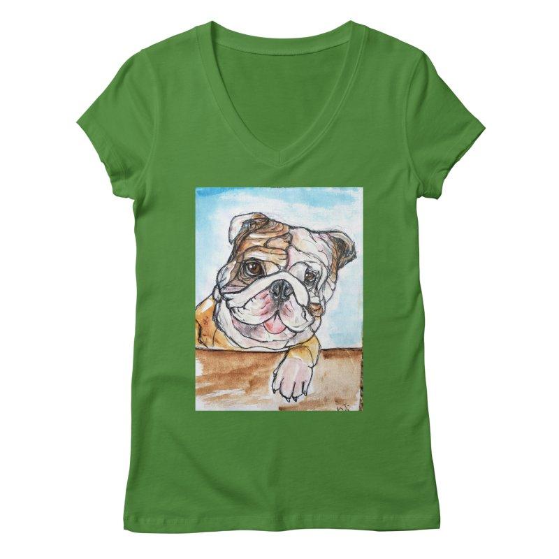 Bulldog Women's Regular V-Neck by AlmaT's Artist Shop