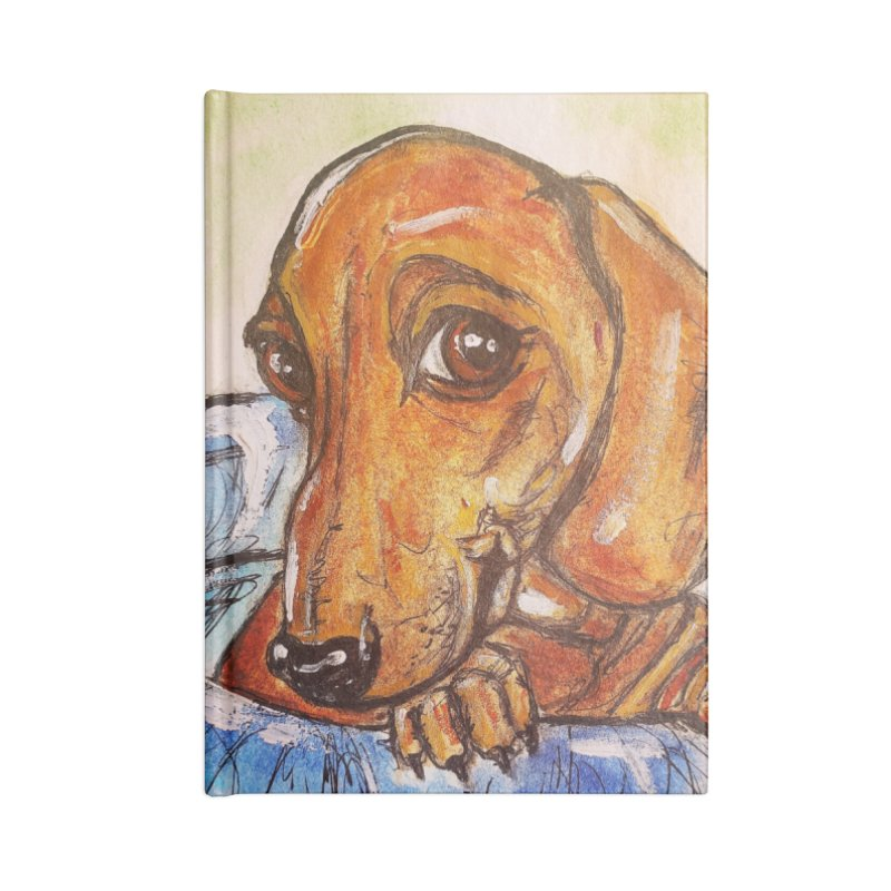 Dachshund  Puppy Accessories Lined Journal Notebook by AlmaT's Artist Shop
