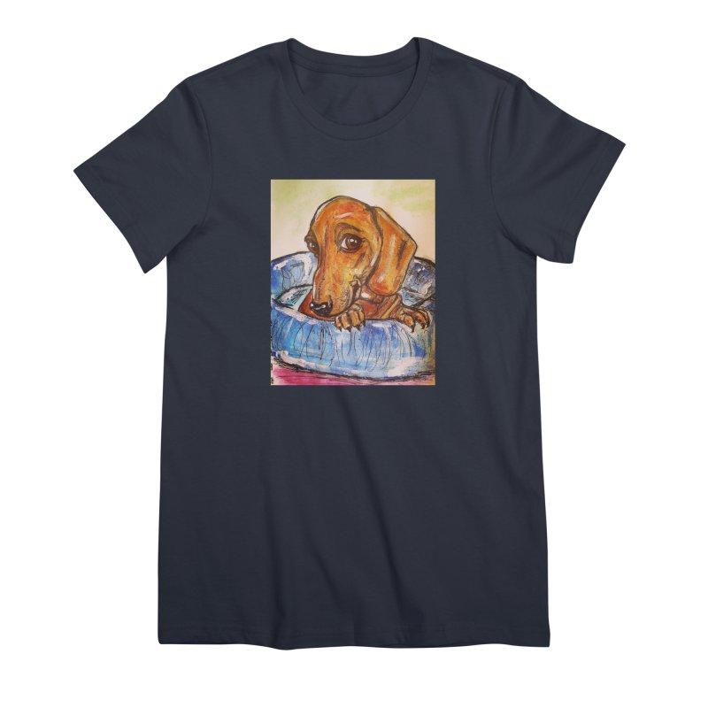 Dachshund  Puppy Women's Premium T-Shirt by AlmaT's Artist Shop