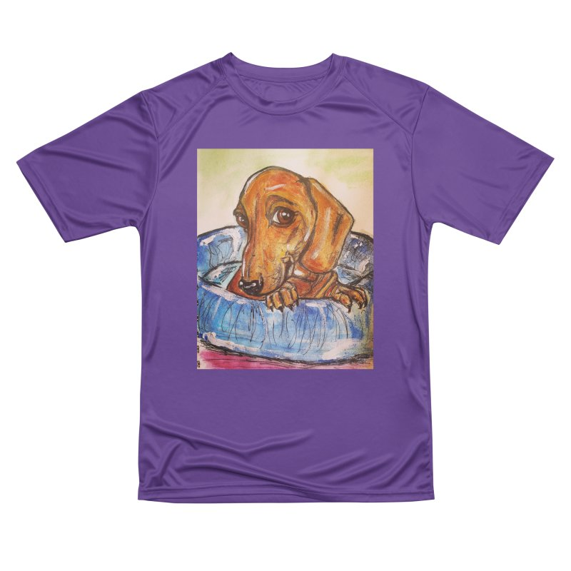 Dachshund  Puppy Women's Performance Unisex T-Shirt by AlmaT's Artist Shop